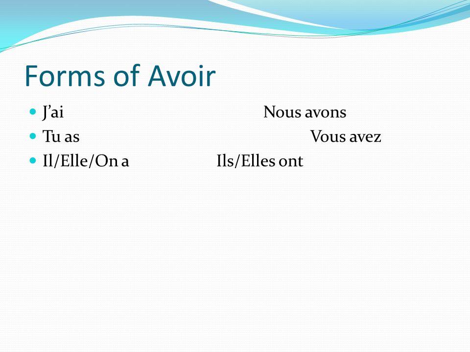 Forms of Avoir JaiNous avons Tu asVous avez Il/Elle/On aIls/Elles ont