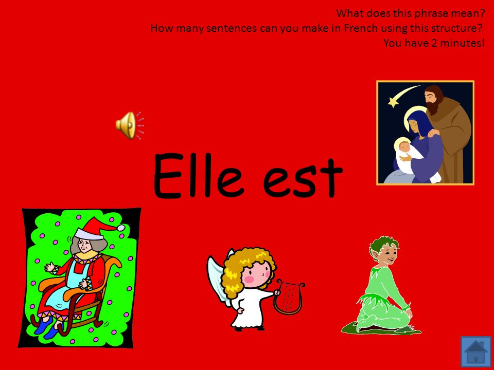 Il est What does this phrase mean? How many sentences can you make in French using this structure? You have 2 minutes!