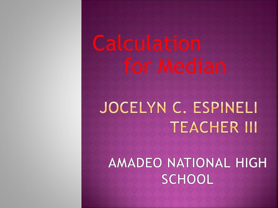 Calculation for Median