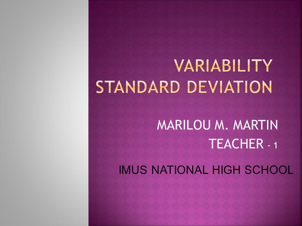 MARILOU M. MARTIN TEACHER - 1 IMUS NATIONAL HIGH SCHOOL