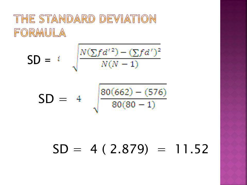 SD = SD = 4 ( 2.879) = 11.52