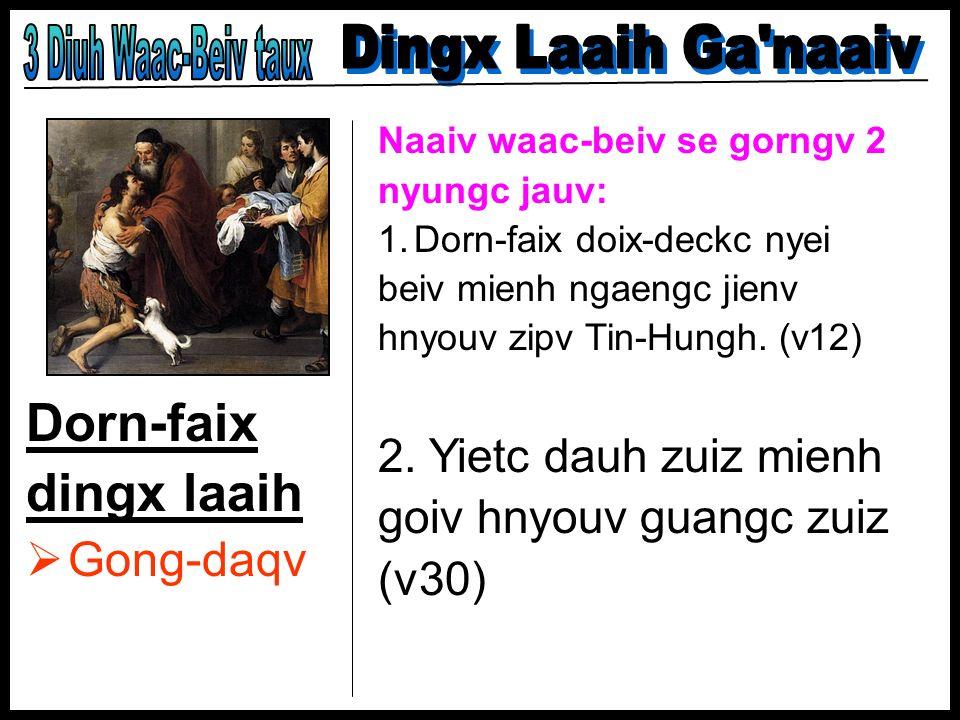 Dorn-faix dingx laaih Gong-daqv Naaiv waac-beiv se gorngv 2 nyungc jauv: 1.Dorn-faix doix-deckc nyei beiv mienh ngaengc jienv hnyouv zipv Tin-Hungh. (