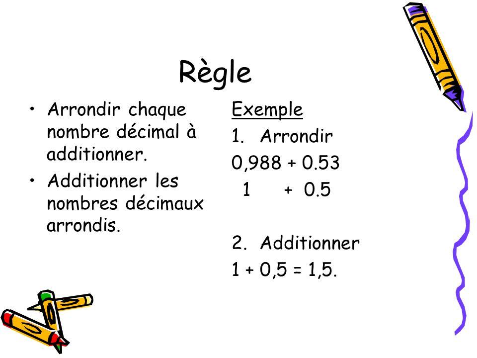 Règle Arrondir chaque nombre décimal à additionner.