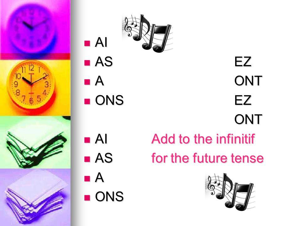 AI AI ASEZ ASEZ AONT AONT ONSEZ ONSEZONT AI Add to the infinitif AI Add to the infinitif AS for the future tense AS for the future tense A ONS ONS