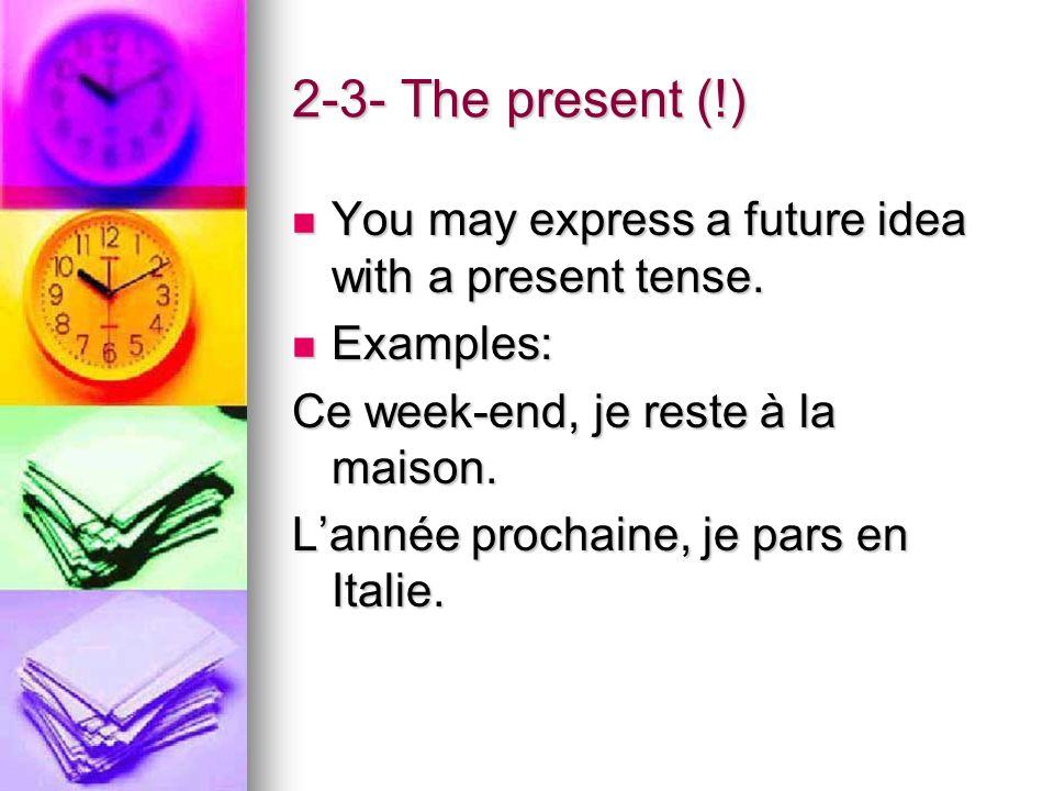3- Time indicators Demain(tomorrow) Après(later) Ce soir(tonight) Cet après-midi(this afternoon) Ensuite(after) Plus tard(later on) Pendant les vacances (during the holidays) Le week-end prochain(Next week-end) Lannée prochaine(Next year)