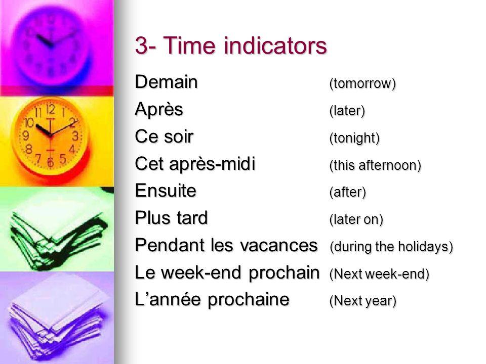 3- Time indicators Demain(tomorrow) Après(later) Ce soir(tonight) Cet après-midi(this afternoon) Ensuite(after) Plus tard(later on) Pendant les vacanc
