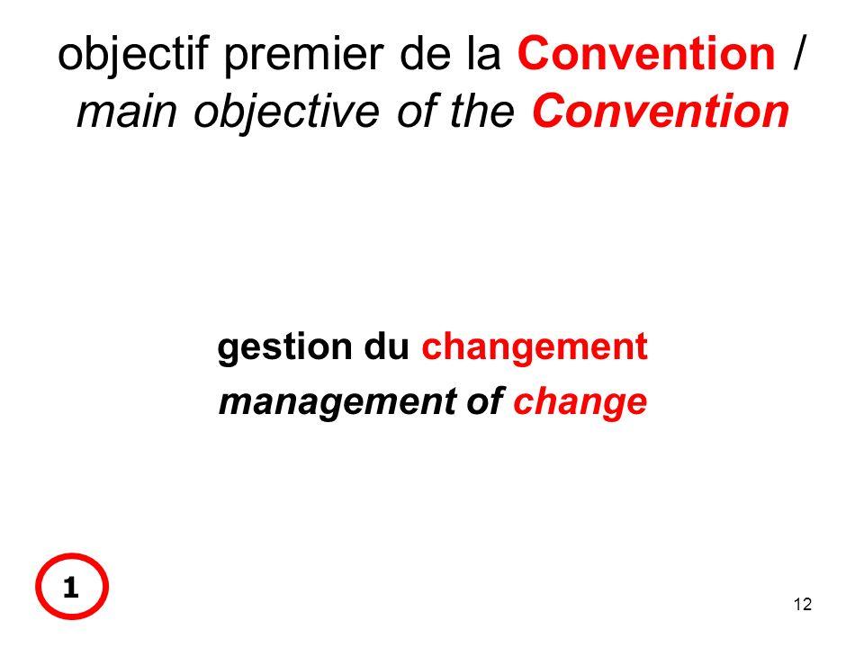 12 objectif premier de la Convention / main objective of the Convention gestion du changement management of change 1