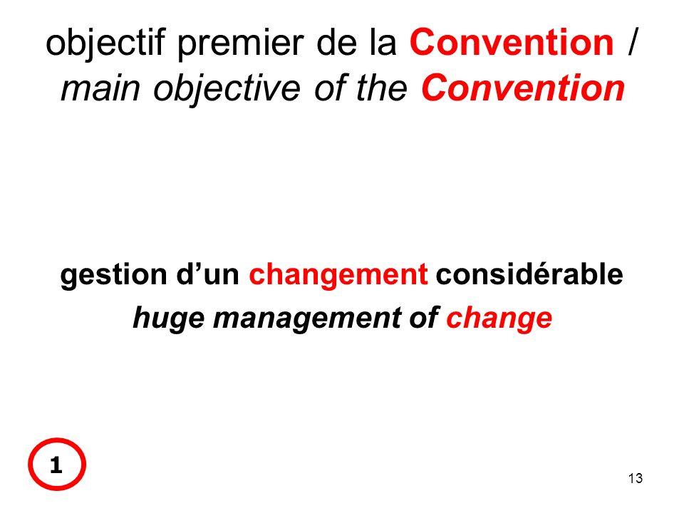 13 objectif premier de la Convention / main objective of the Convention gestion dun changement considérable huge management of change 1
