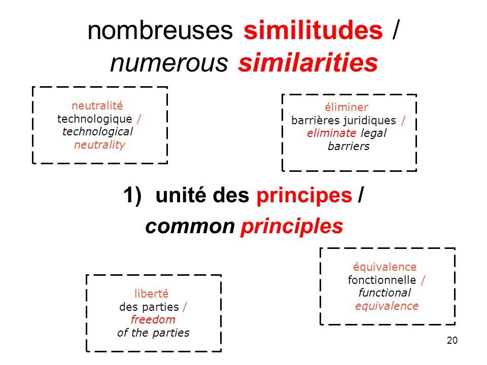 20 nombreuses similitudes / numerous similarities 1)unité des principes / common principles liberté des parties / freedom of the parties équivalence f