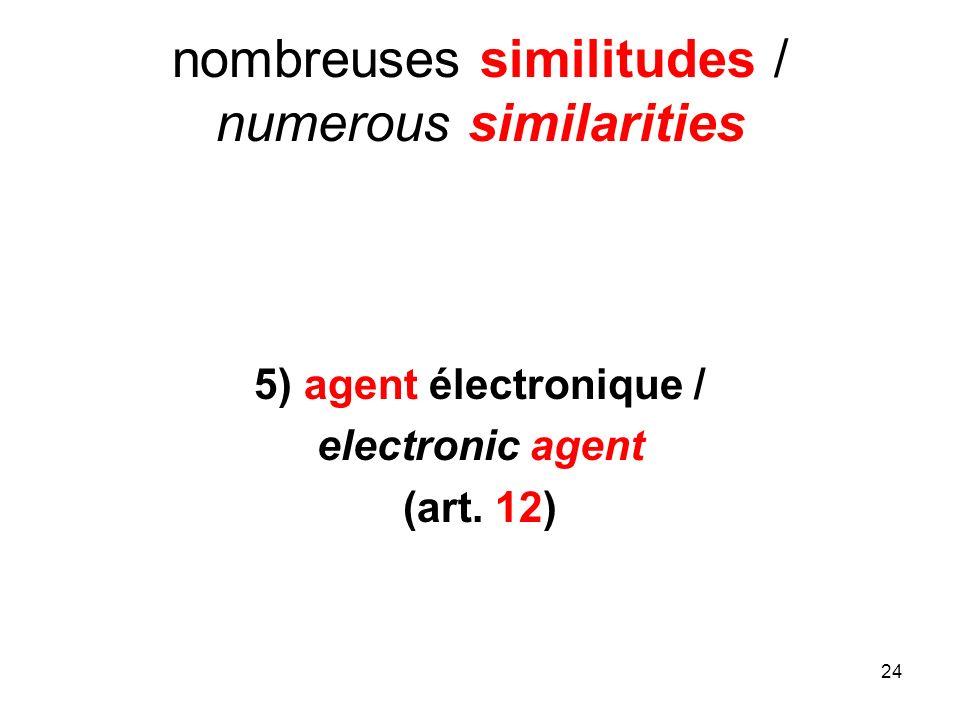 24 nombreuses similitudes / numerous similarities 5) agent électronique / electronic agent (art. 12)