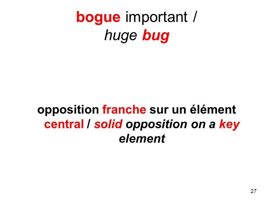 27 bogue important / huge bug opposition franche sur un élément central / solid opposition on a key element