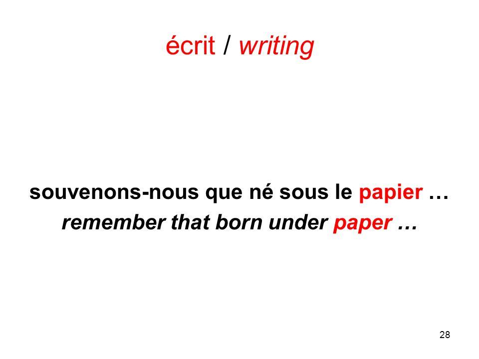 28 écrit / writing souvenons-nous que né sous le papier … remember that born under paper …