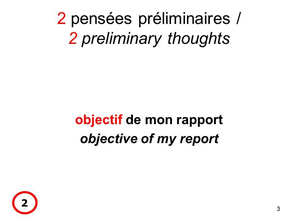 3 2 pensées préliminaires / 2 preliminary thoughts objectif de mon rapport objective of my report 2