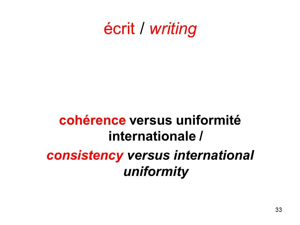 33 écrit / writing cohérence versus uniformité internationale / consistency versus international uniformity