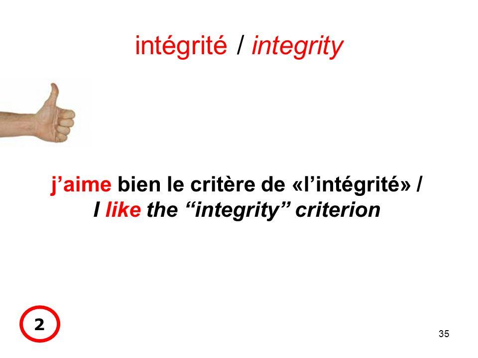 35 intégrité / integrity jaime bien le critère de «lintégrité» / I like the integrity criterion 2