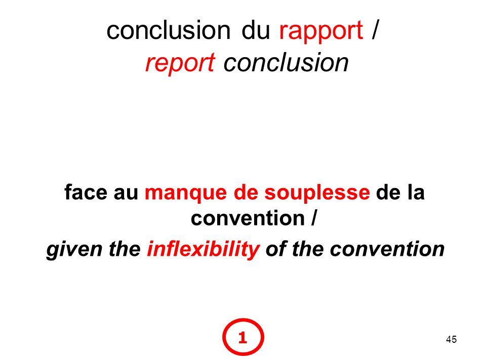 45 conclusion du rapport / report conclusion face au manque de souplesse de la convention / given the inflexibility of the convention 1