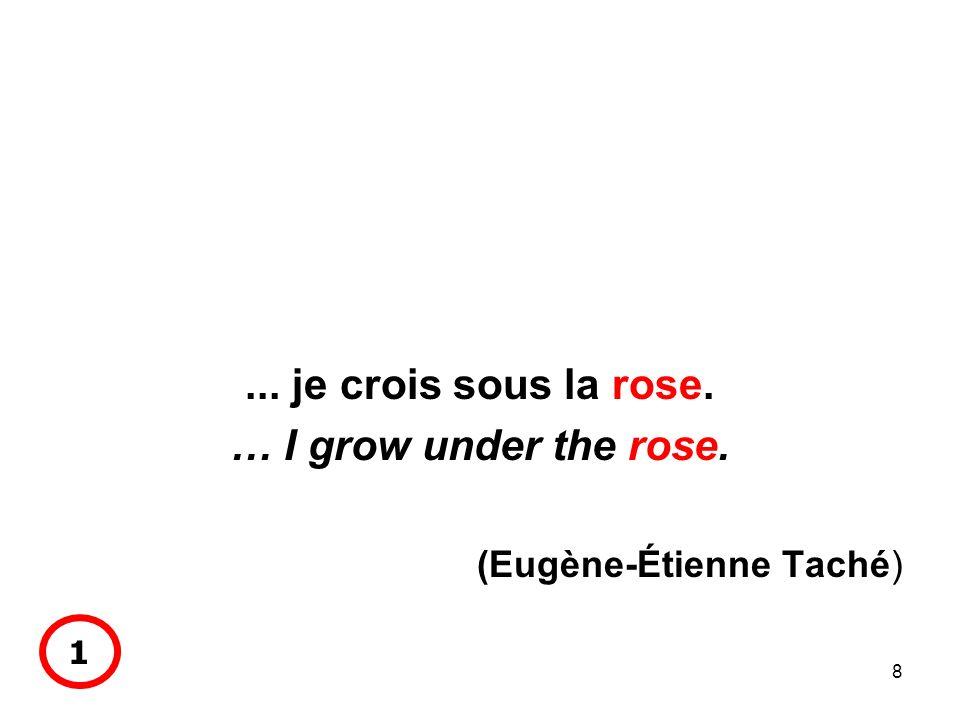 8... je crois sous la rose. … I grow under the rose. (Eugène-Étienne Taché) 1