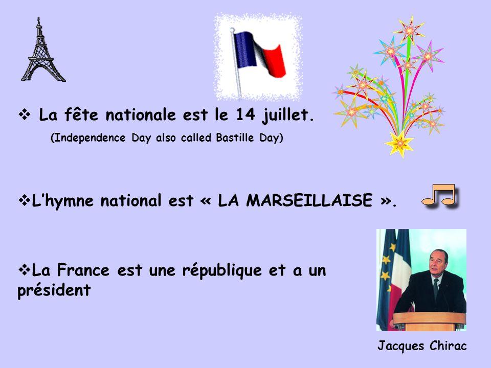Le drapeau français (le tricolore) est bleu, blanc, rouge.
