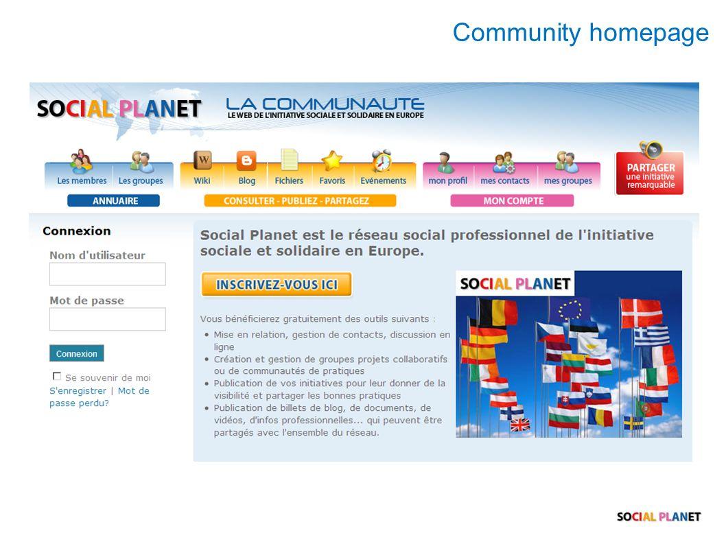 Community homepage