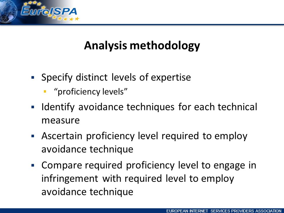 EUROPEAN INTERNET SERVICES PROVIDERS ASSOCIATION Analysis methodology Specify distinct levels of expertise proficiency levels Identify avoidance techniques for each technical measure Ascertain proficiency level required to employ avoidance technique Compare required proficiency level to engage in infringement with required level to employ avoidance technique