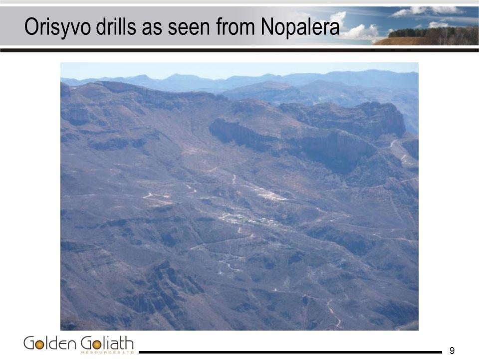 Orisyvo drills as seen from Nopalera 9