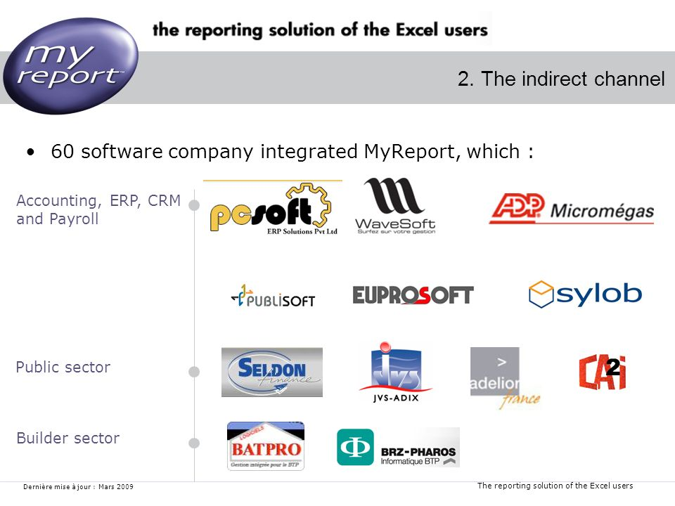 The reporting solution of the Excel users Dernière mise à jour : Mars 2009 2. The indirect channel 60 software company integrated MyReport, which : Ac