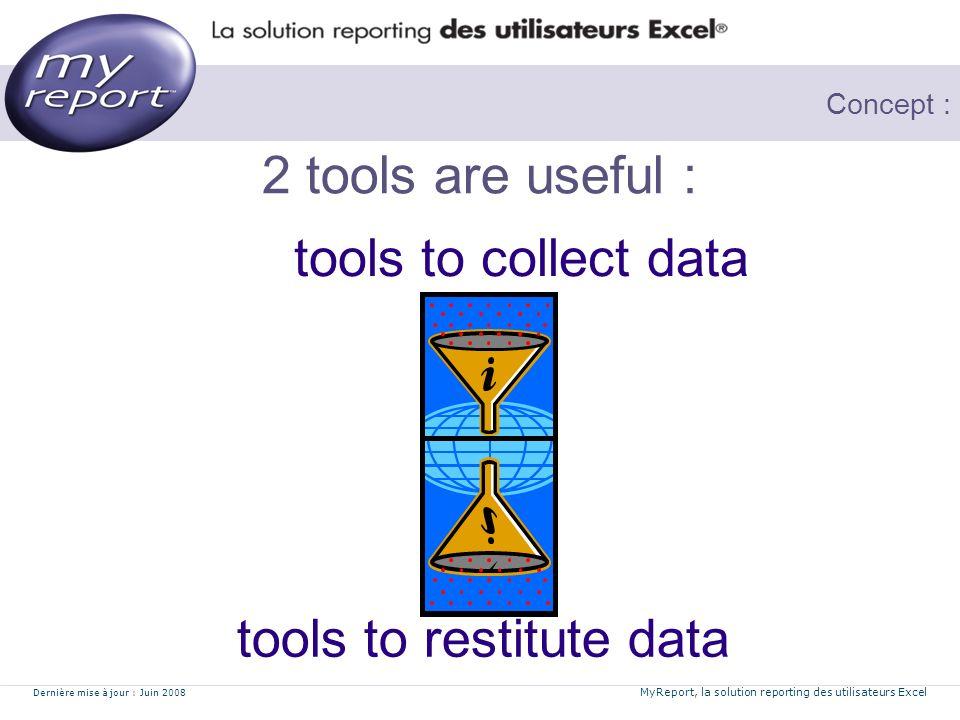 Dernière mise à jour : Juin 2008 MyReport, la solution reporting des utilisateurs Excel Concept : 2 tools are useful : tools to collect data tools to restitute data