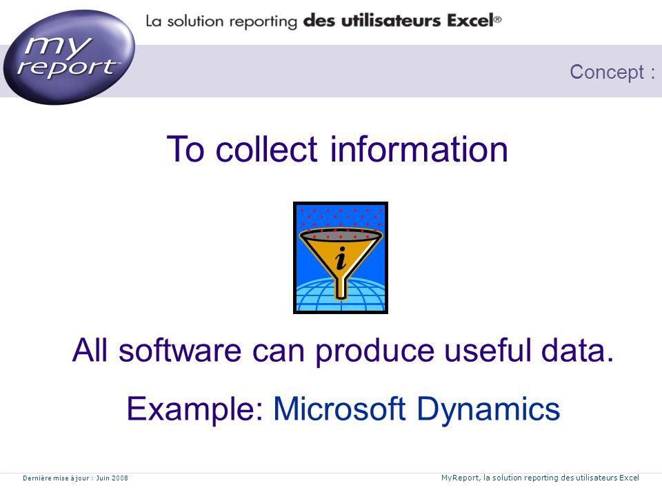 Dernière mise à jour : Juin 2008 MyReport, la solution reporting des utilisateurs Excel Concept : Tools to analyse, visualise data To restitute Data you need Business Intelligence tools