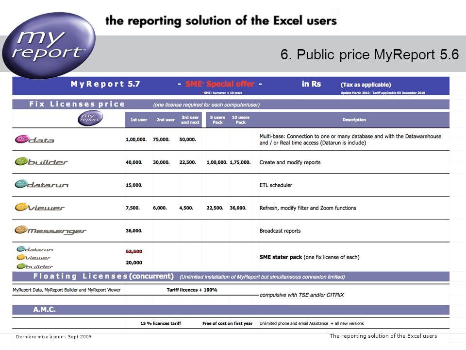 The reporting solution of the Excel users Dernière mise à jour : Sept 2009 6. Public price MyReport 5.6