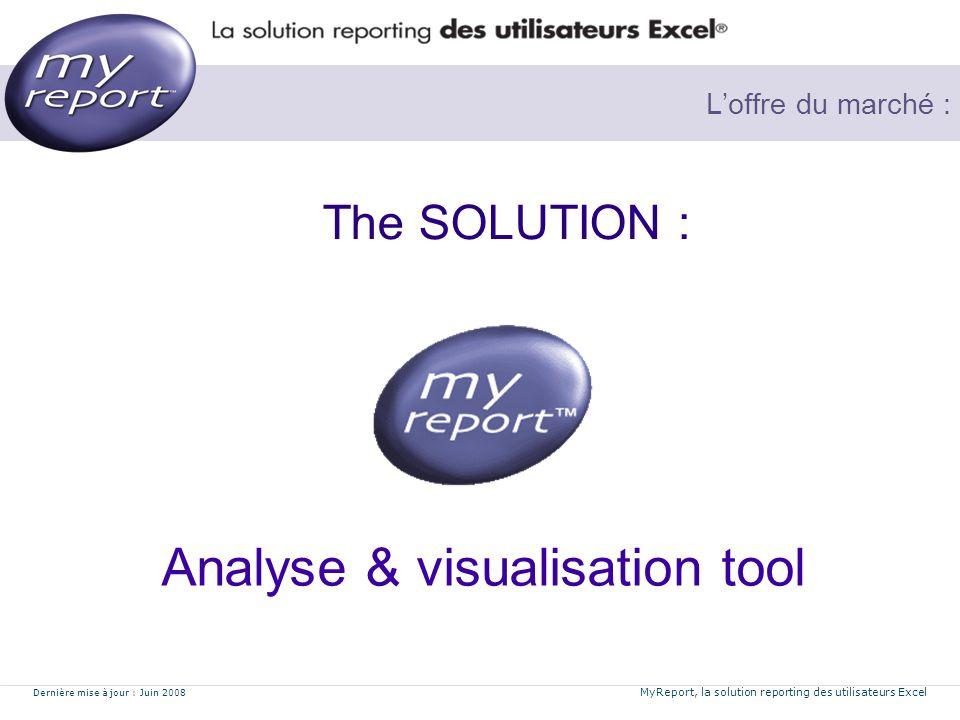 Dernière mise à jour : Juin 2008 MyReport, la solution reporting des utilisateurs Excel Loffre du marché : The SOLUTION : Analyse & visualisation tool
