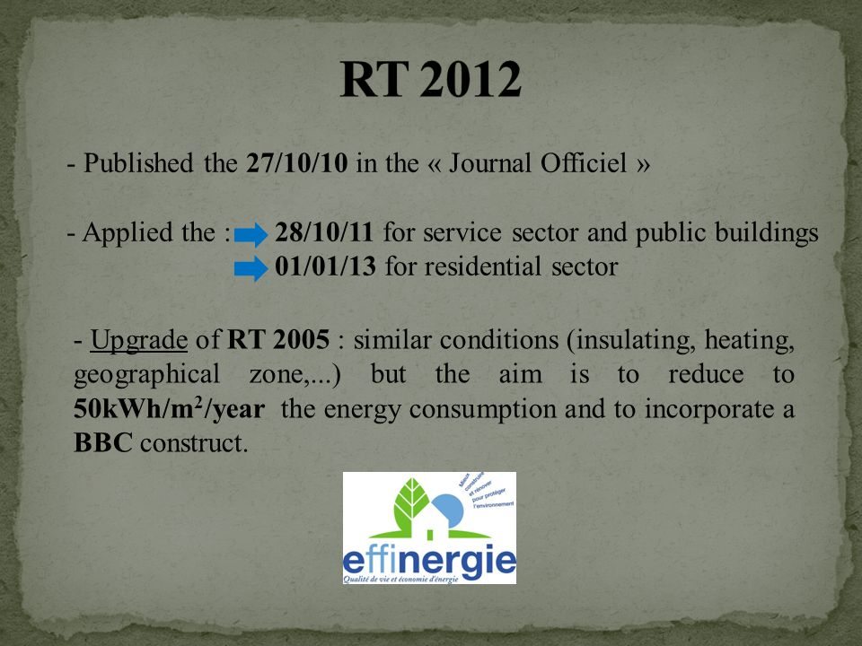 - Published the 27/10/10 in the « Journal Officiel » - Applied the : 28/10/11 for service sector and public buildings 01/01/13 for residential sector - Upgrade of RT 2005 : similar conditions (insulating, heating, geographical zone,...) but the aim is to reduce to 50kWh/m 2 /year the energy consumption and to incorporate a BBC construct.