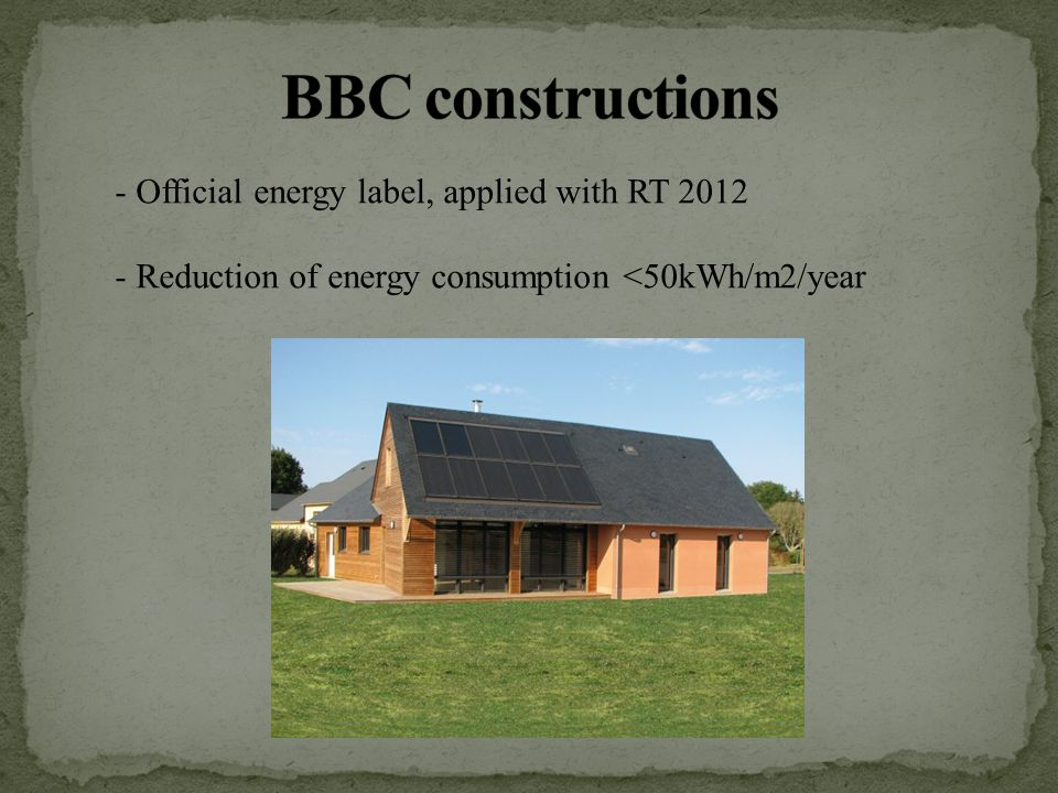 - Official energy label, applied with RT Reduction of energy consumption <50kWh/m2/year