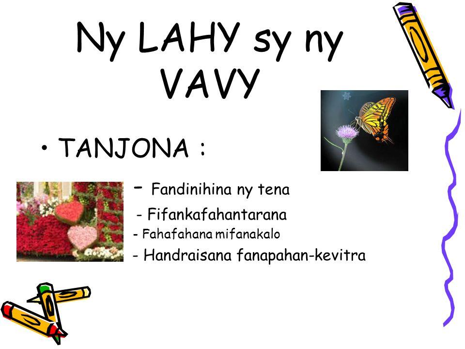 Ny LAHY sy ny VAVY TANJONA : - Fandinihina ny tena - Fifankafahantarana - Fahafahana mifanakalo - Handraisana fanapahan-kevitra