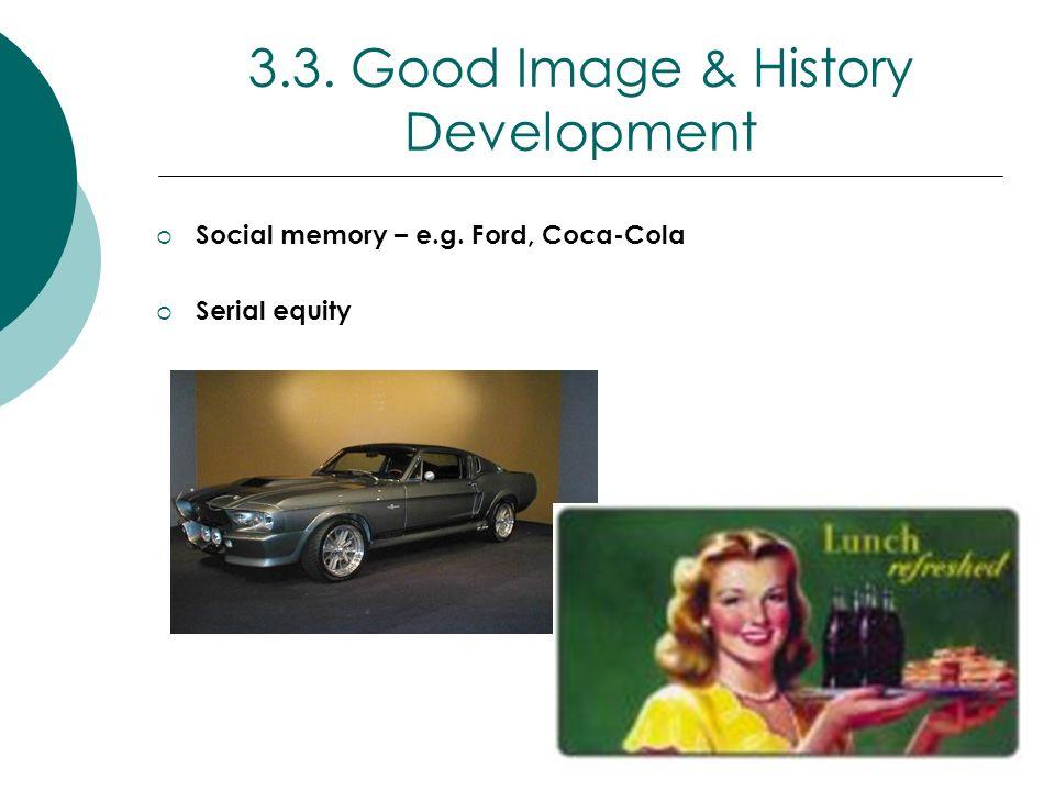 3.3. Good Image & History Development Social memory – e.g. Ford, Coca-Cola Serial equity