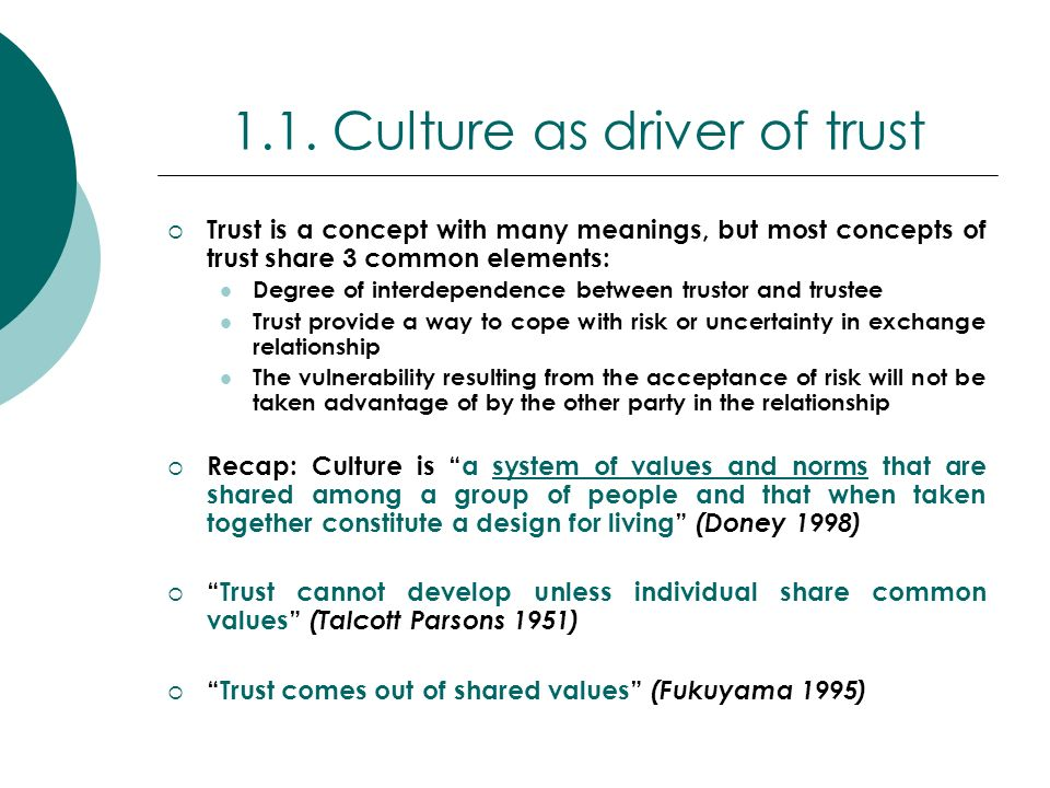 Trust depends on the social norms and values that guide people behaviour and beliefs (Hofstede 1980) In 1983, Hofstede defined that there are 5 dimensions in order to interpret the world: Power distance Uncertainty avoidance Individualism/Collectivism Gender identity Time perspective He argued that all these dimensions have impacts on trust attitude