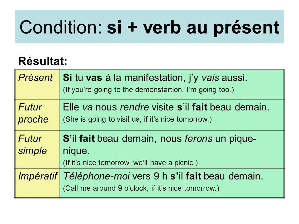 Condition: si + verb au présent Résultat: PrésentSi tu vas à la manifestation, jy vais aussi. (If youre going to the demonstartion, Im going too.) Fut