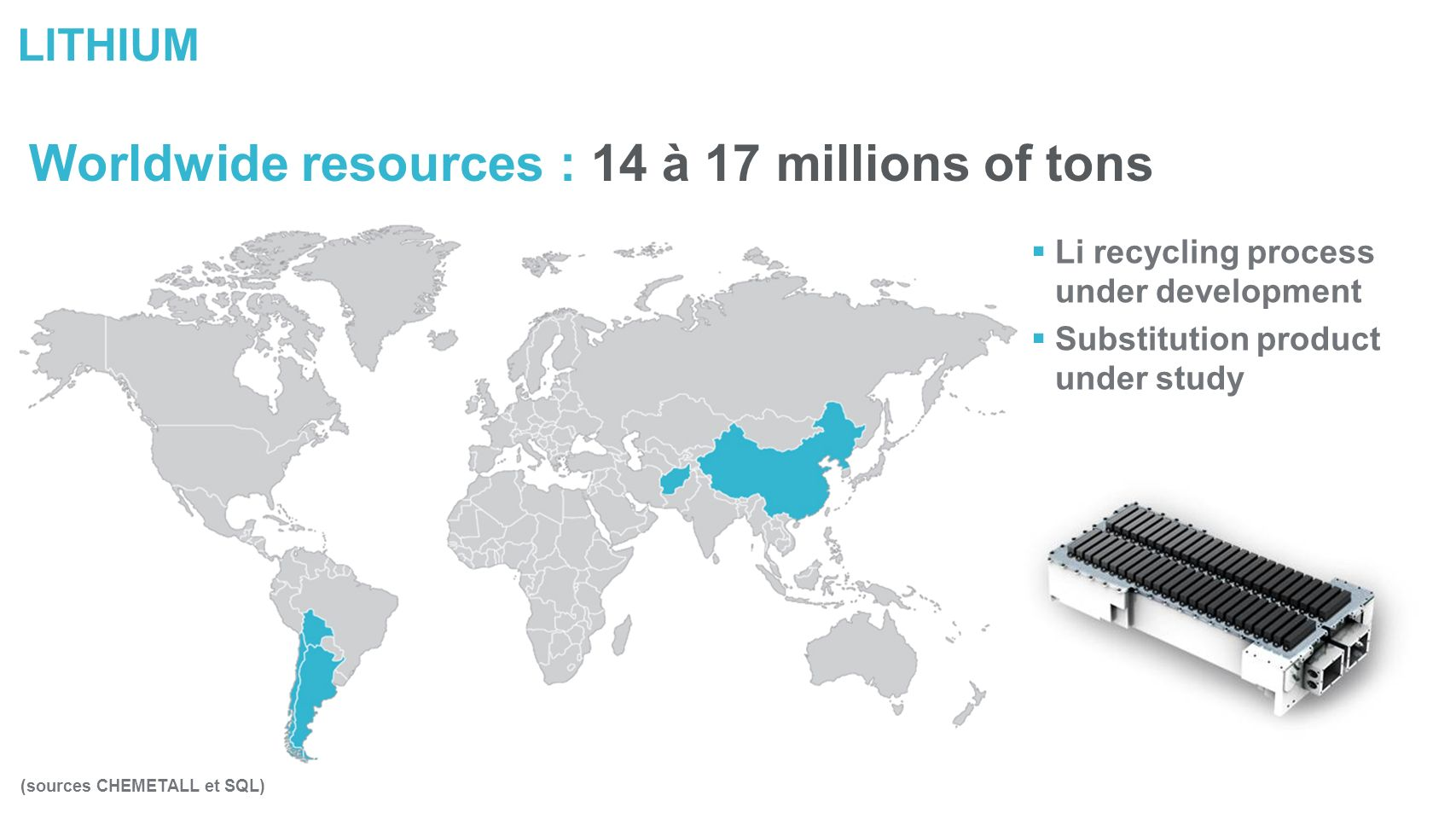 LITHIUM Worldwide resources : 14 à 17 millions of tons (sources CHEMETALL et SQL) Li recycling process under development Substitution product under study
