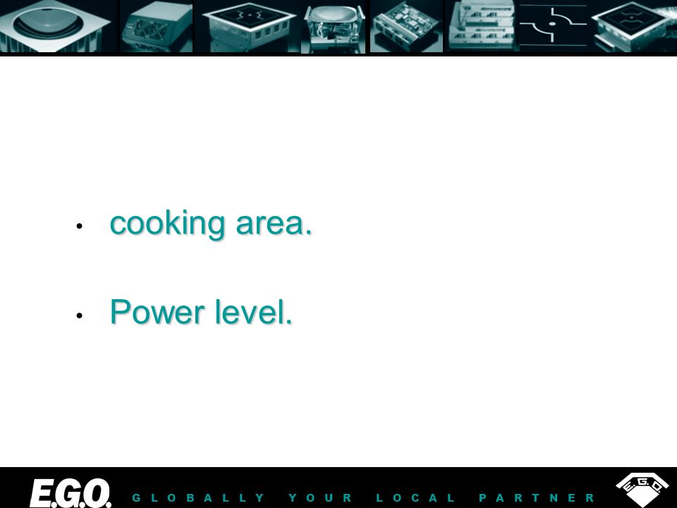 GLOBALLY YOUR LOCAL PARTNER cooking area. Power level.