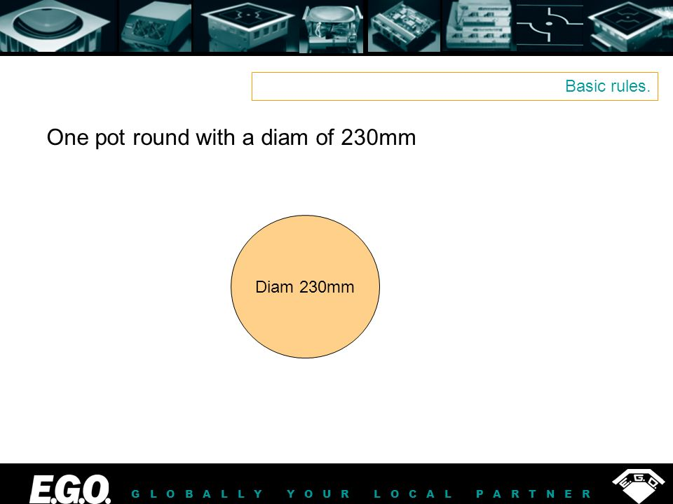 GLOBALLY YOUR LOCAL PARTNER Basic rules. Diam 230mm One pot round with a diam of 230mm