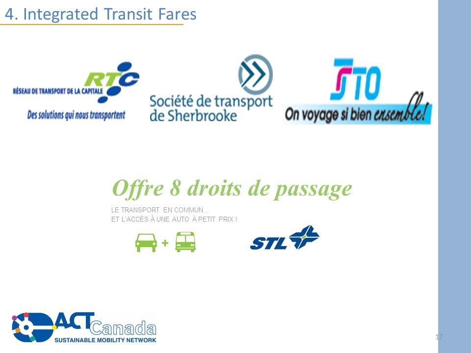 4. Integrated Transit Fares Offre 8 droits de passage LE TRANSPORT EN COMMUN... ET L'ACCÈS À UNE AUTO À PETIT PRIX ! 17