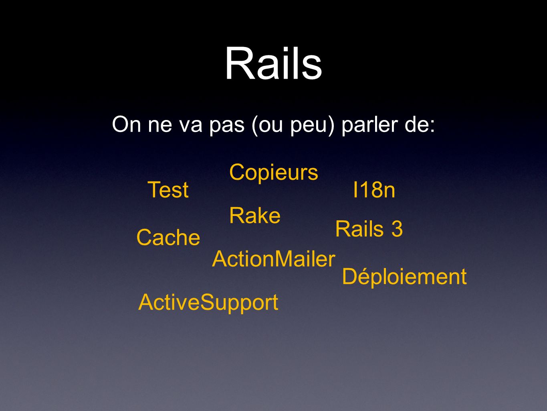 Rails On ne va pas (ou peu) parler de: Test Cache Rake ActionMailer ActiveSupport I18n Déploiement Copieurs Rails 3