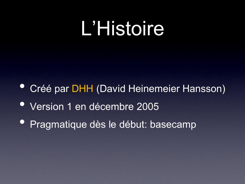 LHistoire Créé par DHH (David Heinemeier Hansson) Version 1 en décembre 2005 Pragmatique dès le début: basecamp