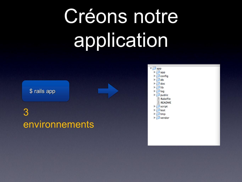 Créons notre application $ rails app 3 environnements