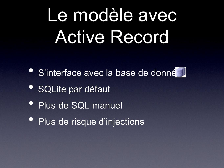 Le modèle avec Active Record Sinterface avec la base de données SQLite par défaut Plus de SQL manuel Plus de risque dinjections