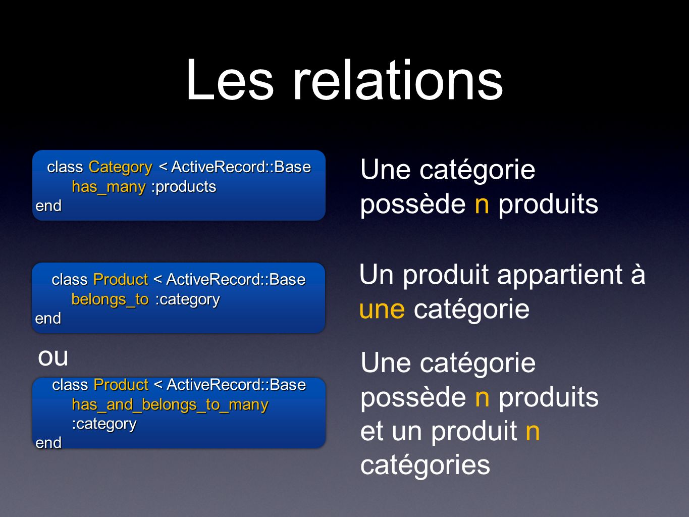 Les relations class Category < ActiveRecord::Base has_many :products end class Category < ActiveRecord::Base has_many :products end Une catégorie possède n produits class Product < ActiveRecord::Base belongs_to :category end class Product < ActiveRecord::Base belongs_to :category end Un produit appartient à une catégorie class Product < ActiveRecord::Base has_and_belongs_to_many :category end class Product < ActiveRecord::Base has_and_belongs_to_many :category end Une catégorie possède n produits et un produit n catégories ou
