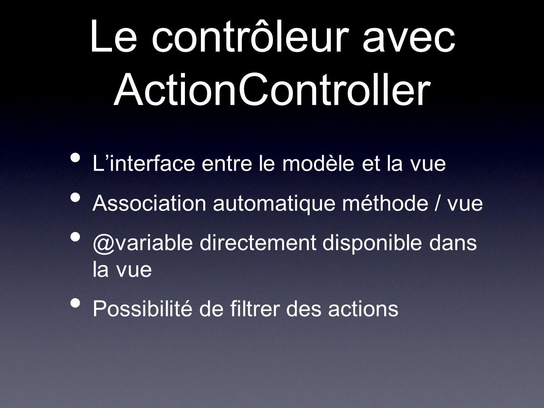 Le contrôleur avec ActionController Linterface entre le modèle et la vue Association automatique méthode / vue @variable directement disponible dans la vue Possibilité de filtrer des actions