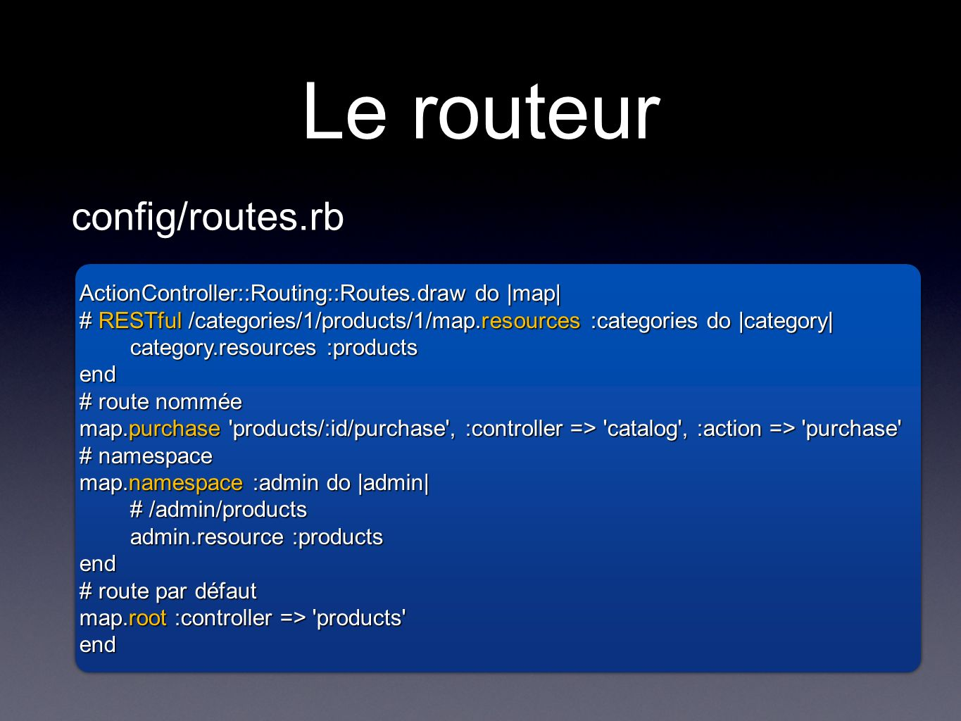 Le routeur config/routes.rb ActionController::Routing::Routes.draw do |map| # RESTful /categories/1/products/1/map.resources :categories do |category| category.resources :products end # route nommée map.purchase products/:id/purchase , :controller => catalog , :action => purchase # namespace map.namespace :admin do |admin| # /admin/products admin.resource :products end # route par défaut map.root :controller => products end ActionController::Routing::Routes.draw do |map| # RESTful /categories/1/products/1/map.resources :categories do |category| category.resources :products end # route nommée map.purchase products/:id/purchase , :controller => catalog , :action => purchase # namespace map.namespace :admin do |admin| # /admin/products admin.resource :products end # route par défaut map.root :controller => products end