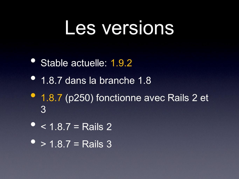 Les versions Stable actuelle: 1.9.2 1.8.7 dans la branche 1.8 1.8.7 (p250) fonctionne avec Rails 2 et 3 < 1.8.7 = Rails 2 > 1.8.7 = Rails 3
