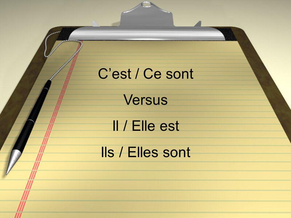Cest / Ce sont Versus Il / Elle est Ils / Elles sont