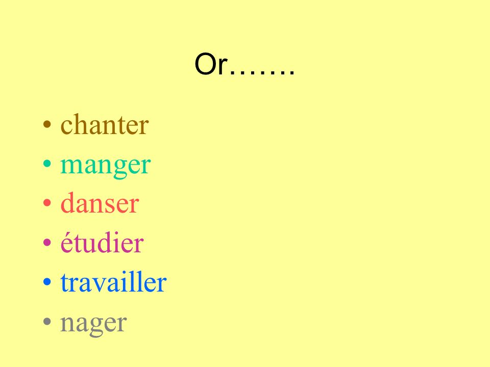 First,choose a verb.. regarder la télé écouter la radio parler français, espagnol, anglais voyager